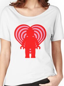 RETRO MINIFIG IN FRONT OF HEART Women's Relaxed Fit T-Shirt