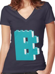 THE LETTER B, by Customize My Minifig Women's Fitted V-Neck T-Shirt