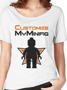Black Minifig Standing, in front of Customize My Minifig Logo Women's Relaxed Fit T-Shirt
