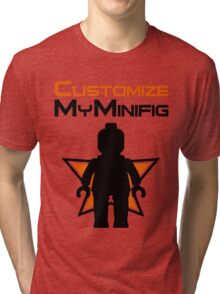 Black Minifig Standing, in front of Customize My Minifig Logo Tri-blend T-Shirt