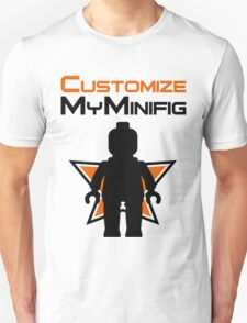 Black Minifig Standing, in front of Customize My Minifig Logo Unisex T-Shirt