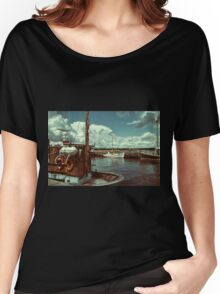 Fishing boats in a port Women's Relaxed Fit T-Shirt