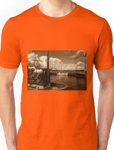 Fishing boats in a port Unisex T-Shirt