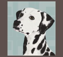 Dalmatian with Honey Eyes on Light Green Back Baby Tee