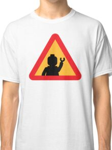 Minifig Triangle Road Traffic Sign Classic T-Shirt