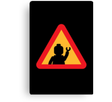 Minifig Triangle Road Traffic Sign Canvas Print