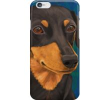Black and Gold Dachshund Portrait on Blue iPhone Case/Skin