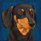 Black and Gold Dachshund Portrait on Blue by ibadishi