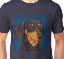 Black and Gold Dachshund Portrait on Blue Unisex T-Shirt