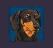 Black and Gold Dachshund Portrait on Blue Unisex T-Shirt