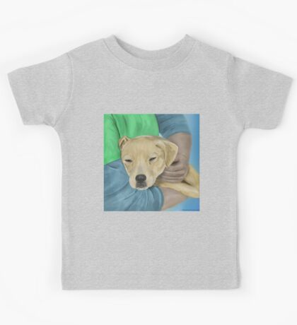 Blond Dog is Being Cradled by a Person Kids Tee