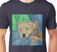 Blond Dog is Being Cradled by a Person Unisex T-Shirt