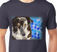 Brown and white coat dog on blue stars background Unisex T-Shirt