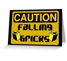 Caution Falling Bricks Greeting Card