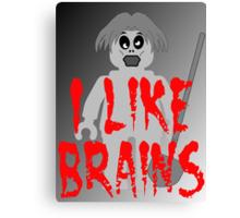 "Zombie Minifig ""I LIKE BRAINS"", by Customize My Minifig Canvas Print"