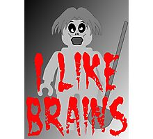 "Zombie Minifig ""I LIKE BRAINS"", by Customize My Minifig Photographic Print"