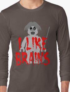"Zombie Minifig ""I LIKE BRAINS"", by Customize My Minifig Long Sleeve T-Shirt"