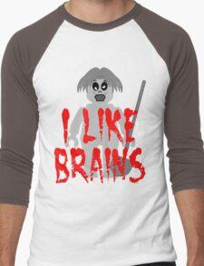 "Zombie Minifig ""I LIKE BRAINS"", by Customize My Minifig Men's Baseball ¾ T-Shirt"