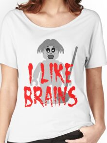 """Zombie Minifig """"I LIKE BRAINS"""", by Customize My Minifig Women's Relaxed Fit T-Shirt"""