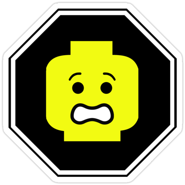 SCARED MINIFIG FACE ROADSIGN by Customize My Minifig