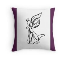 Angel Abstract Line Drawing on White Background With Purple Throw Pillow