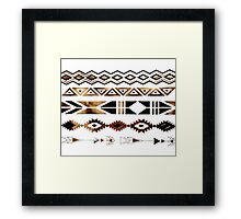 Tribal Aztec Gold and Black Design Framed Print