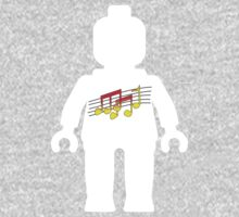White Minifig with Music Log, Customize My Minifig One Piece - Long Sleeve