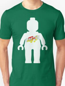 White Minifig with Music Log, Customize My Minifig Unisex T-Shirt