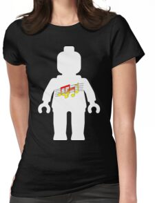 White Minifig with Music Log, Customize My Minifig Womens Fitted T-Shirt