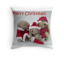 Christmas Bunnies. Handmade bears from Teddy Bear Orphans Throw Pillow