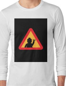Minifig Triangle Road Traffic Sign Long Sleeve T-Shirt