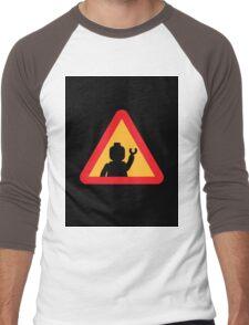 Minifig Triangle Road Traffic Sign Men's Baseball ¾ T-Shirt