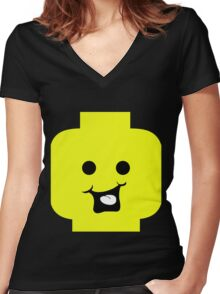 Cheeky Minifig Head Women's Fitted V-Neck T-Shirt