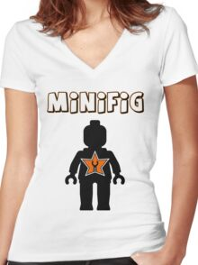 Minifig [Black], Customize My Minifig Star Logos Women's Fitted V-Neck T-Shirt