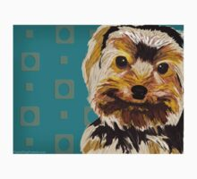 Toy Dog with Brown Yellow hair on turquoise back One Piece - Long Sleeve