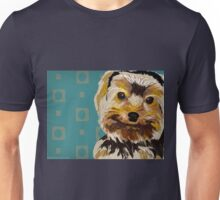 Toy Dog with Brown Yellow hair on turquoise back Unisex T-Shirt