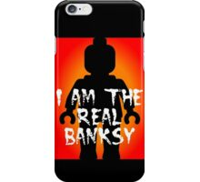 """Black Minifig with """"I am the Real Banksy"""" slogan, Customize My Minifig iPhone Case/Skin"""