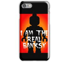 "Black Minifig with ""I am the Real Banksy"" slogan, Customize My Minifig iPhone Case/Skin"