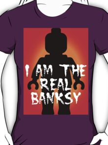 """Black Minifig with """"I am the Real Banksy"""" slogan, Customize My Minifig T-Shirt"""