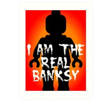 "Black Minifig with ""I am the Real Banksy"" slogan, Customize My Minifig Art Print"