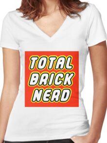 TOTAL BRICK NERD Women's Fitted V-Neck T-Shirt