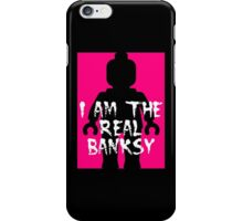 "Black Minifig with ""I am the Real Banksy""  iPhone Case/Skin"
