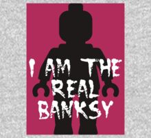 """Black Minifig with """"I am the Real Banksy""""  Kids Tee"""