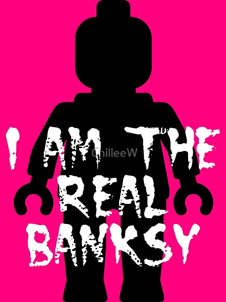 """Black Minifig with """"I am the Real Banksy""""  by Customize My Minifig"""