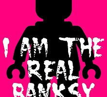 "Black Minifig with ""I am the Real Banksy"" slogan, Customize My Minifig by ChilleeW"