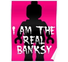 """Black Minifig with """"I am the Real Banksy""""  Poster"""