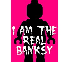 "Black Minifig with ""I am the Real Banksy""  Photographic Print"