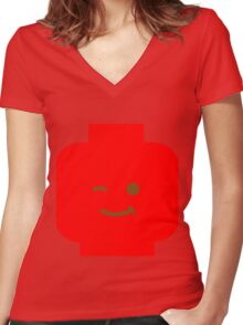Minifig Winking Head Women's Fitted V-Neck T-Shirt