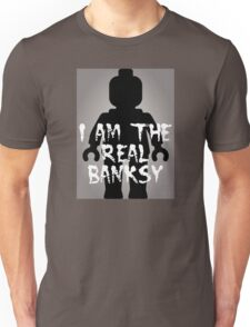 """Black Minifig with """"I am the Real Banksy"""" Unisex T-Shirt"""
