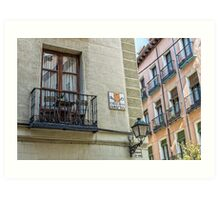 Balcony at Amnesty street in Madrid city center Art Print